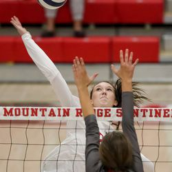 Mountain Ridge and Skyridge compete in a girls volleyball match in Herriman on Tuesday, Sept. 7, 2021.