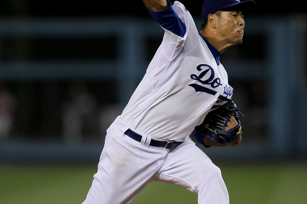 LOS ANGELES, CA - JULY 22:  Hiroki Kuroda #18 of the Los Angeles Dodgers throws a pitch against the Washington Nationals on July 22, 2011 at Dodger Stadium in Los Angeles, California.  (Photo by Stephen Dunn/Getty Images)