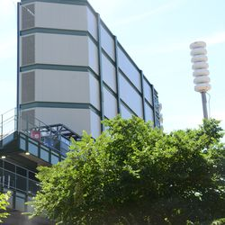 2:54 p.m. The back of the left-field video board, with the city tornado siren on the right -