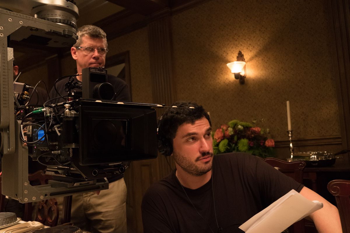 josh trank directing tom hardy in capone with cinematographer peter deming behind him