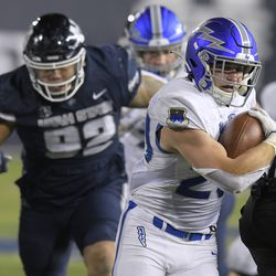 Air Force running back Brad Roberts (20) carries the ball as Utah State defensive lineman Hale Motu'apuaka (92) defends during the second half of an NCAA college football game Thursday, Dec. 3, 2020, in Logan, Utah.