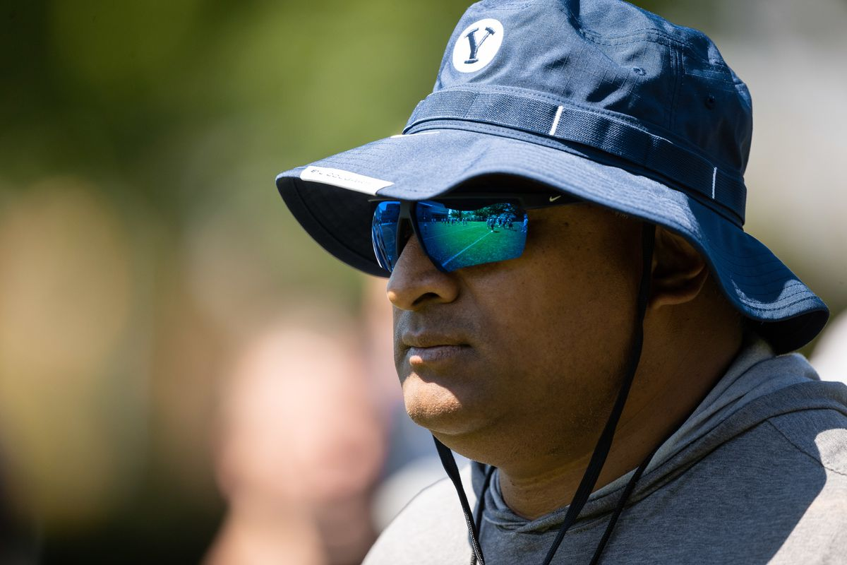 BYU football coach Kalani Sitake looks on during practice Aug. 23 in Provo.