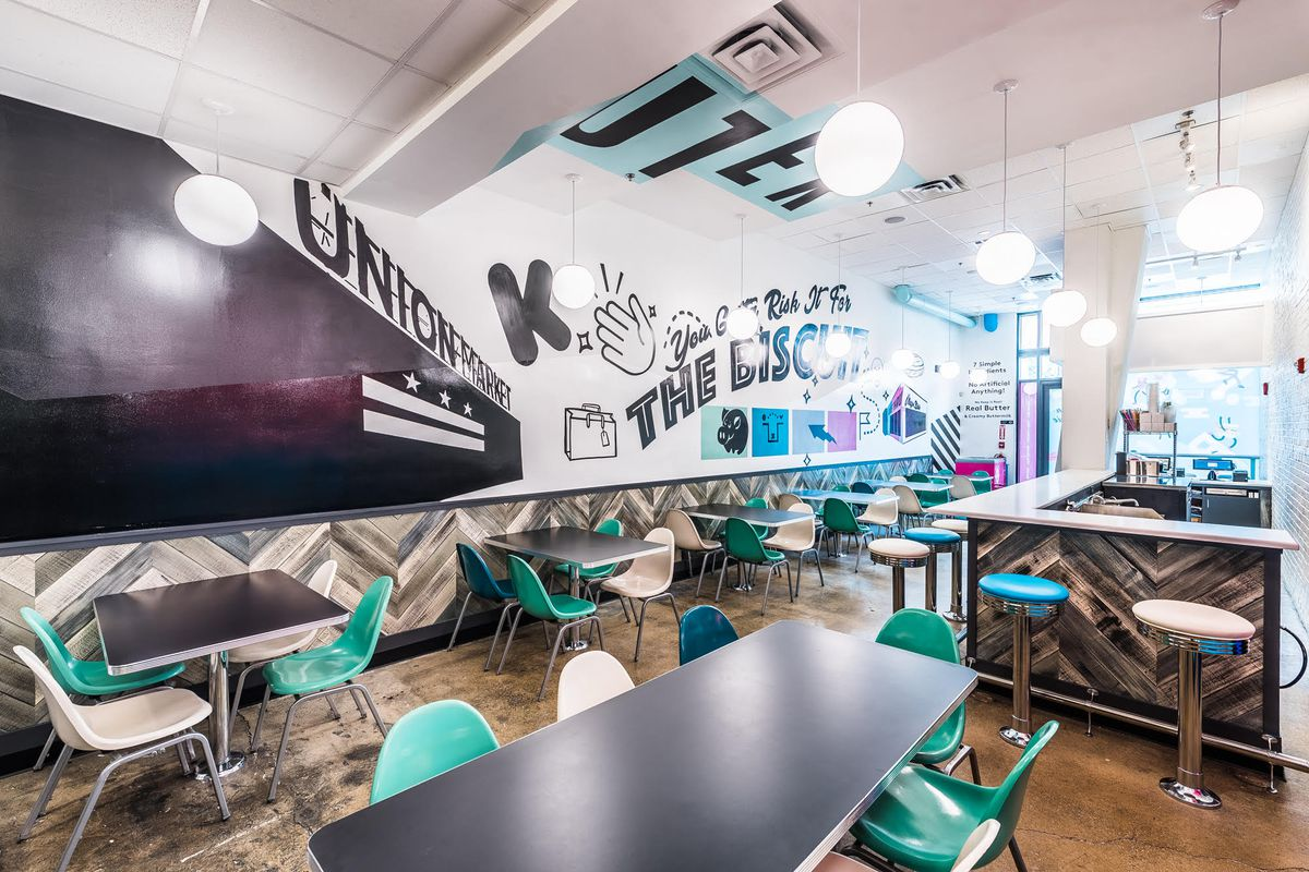 Mason Dixie Biscuit Co.'s diner-style seating in Shaw