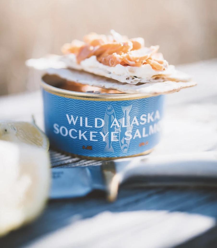 A can of wild Alaska sockeye salmon