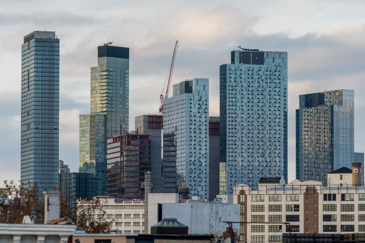 Several glass high-rise apartment buildings in Long Island City, Queens.
