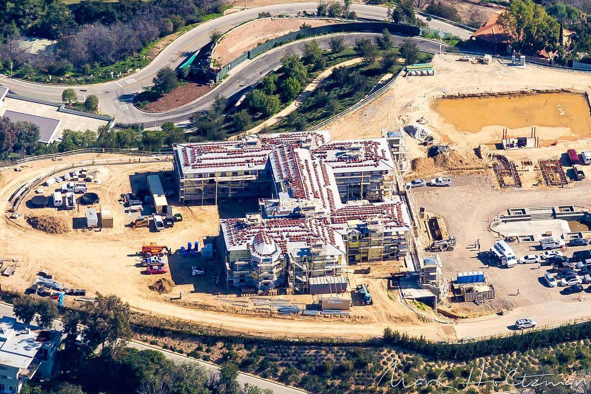 Aerial shot of Barrack megamansion