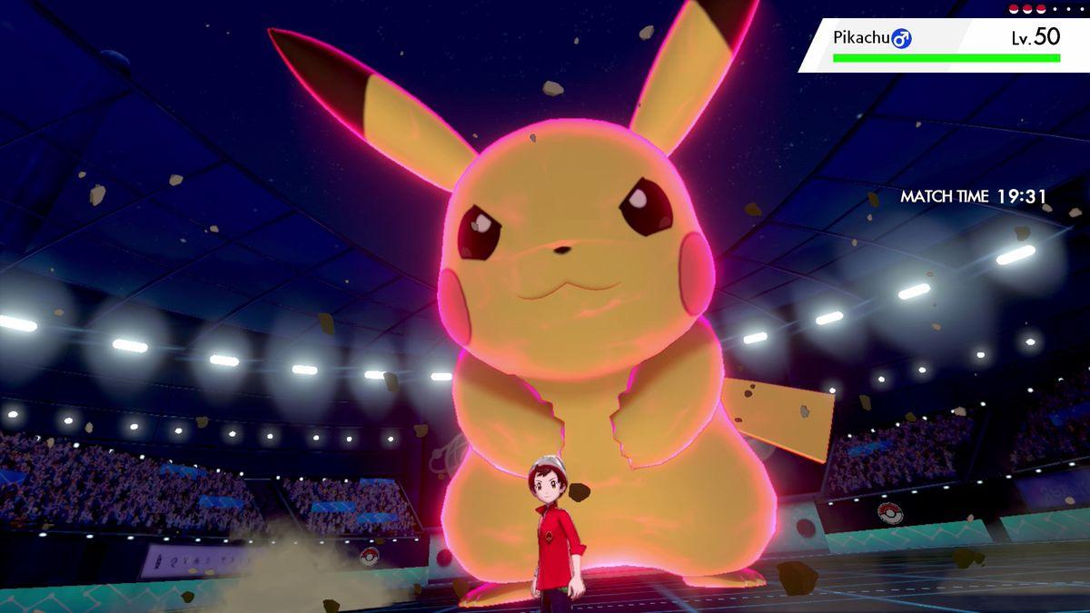 Dynamax Pikachu appears in a screenshot from Pokémon Sword/Shield