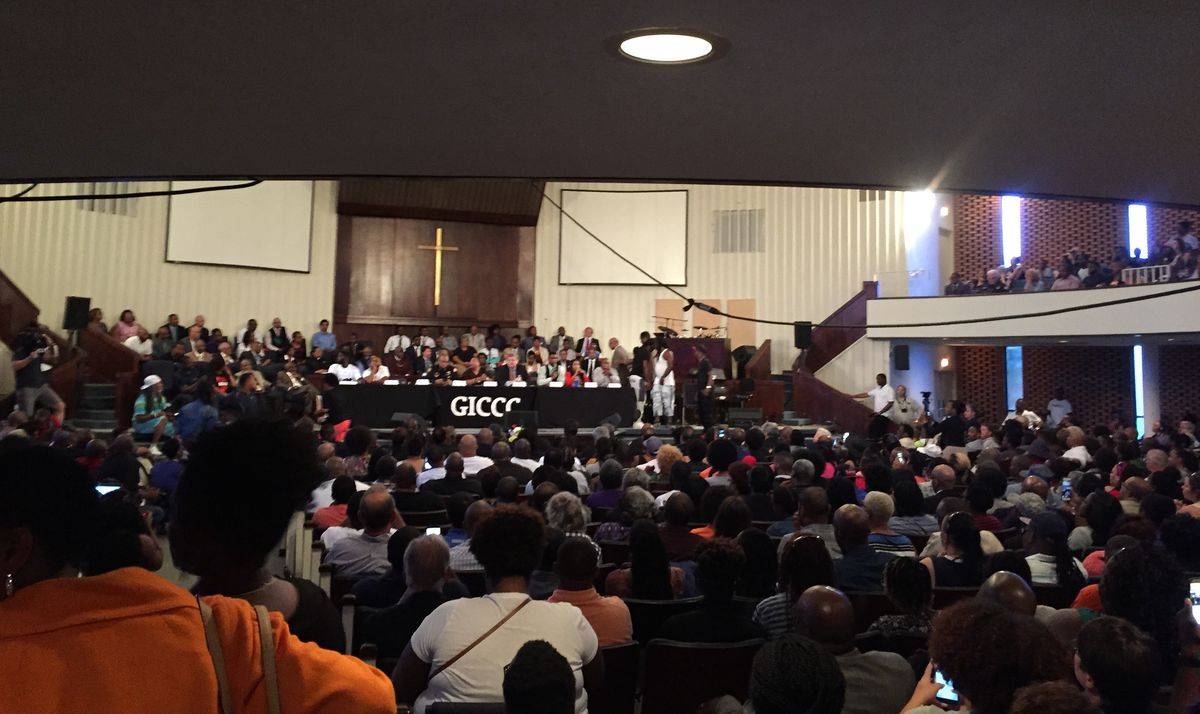 Hundreds of Memphians gather at the Greater Imani Cathedral of Faith on the city's north side for a community dialogue in response to a weekend Black Lives Matter protest.