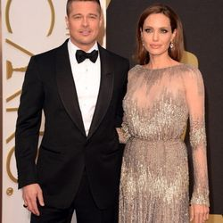 Angelina Jolie wears Elie Saab, found at Neiman Marcus at Fashion Show, while Brad Pitt, a producer for <em>12 Years a Slave</em>, wears his-go-to designer, Tom Ford, found at the Shops at Crystals.
