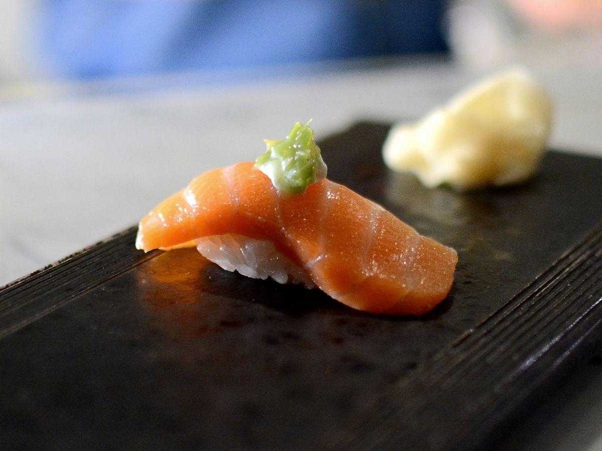 Salmon sushi at the sushi bar.