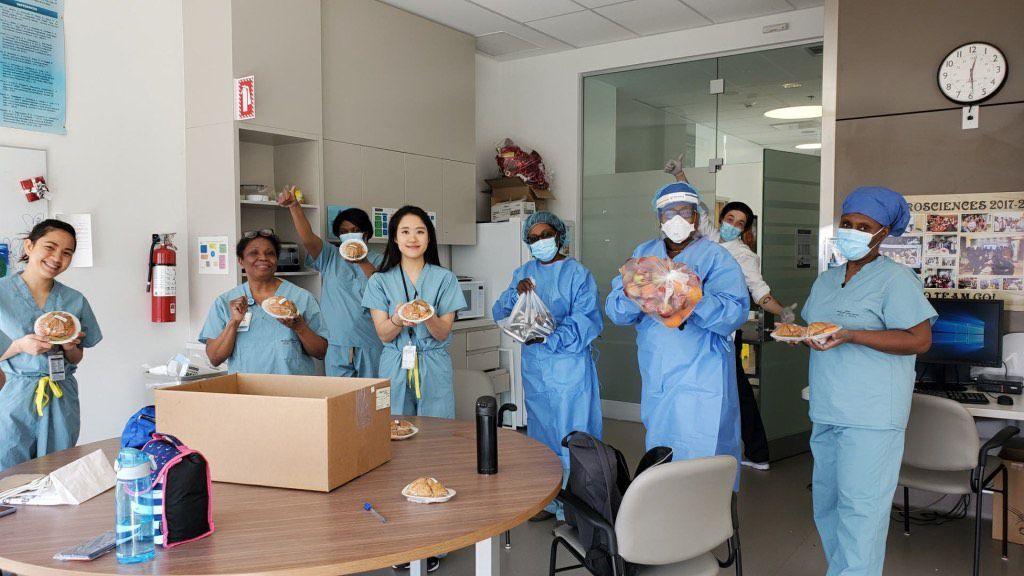 nurses with food