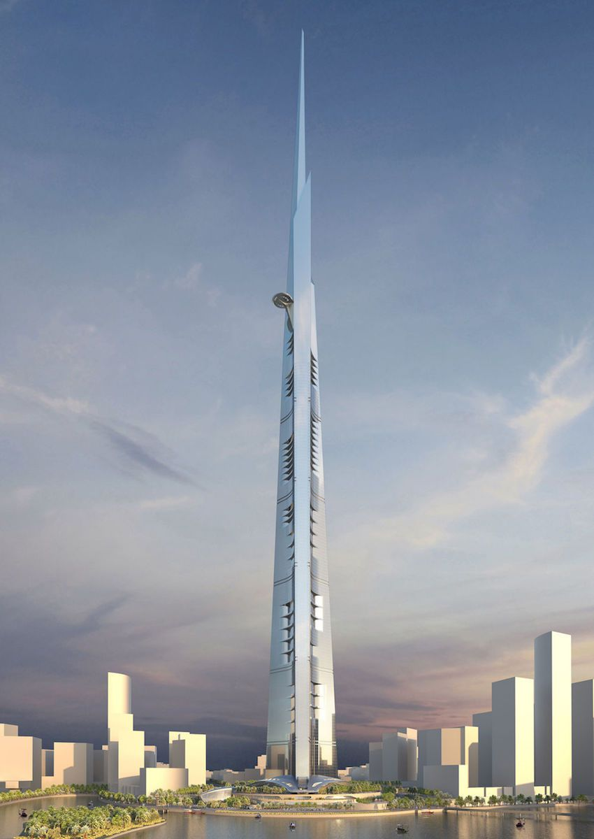 The Jeddah Tower surrounded by other tall buildings.
