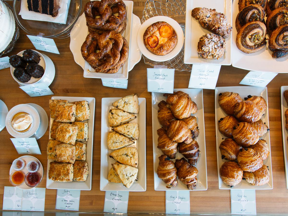 A bird's eye view of scones, croissants, and other baked goods.