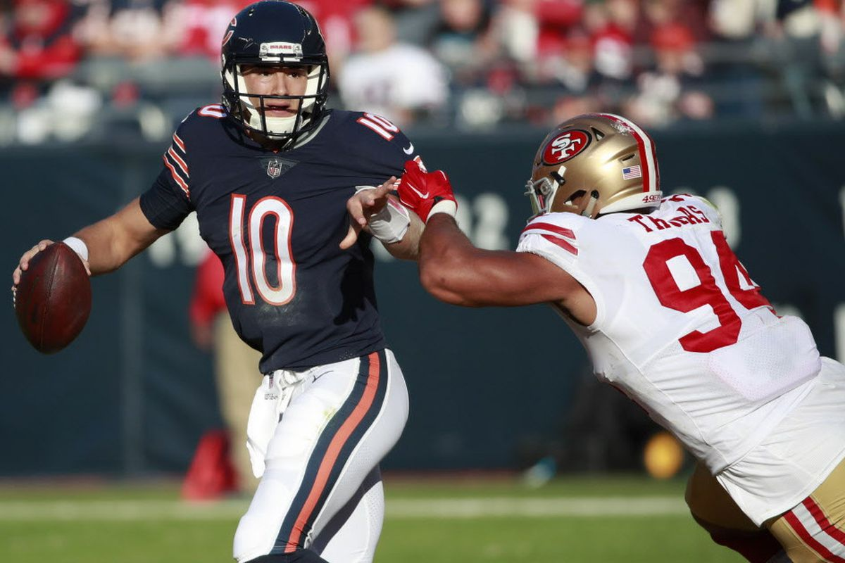 3c0222bd7 Chicago Bears quarterback Mitchell Trubisky (10) is pressured by San  Francisco 49ers defensive end Solomon Thomas (94) during an NFL football  game Sunday, ...