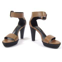 Hogan tan ankle strap heels