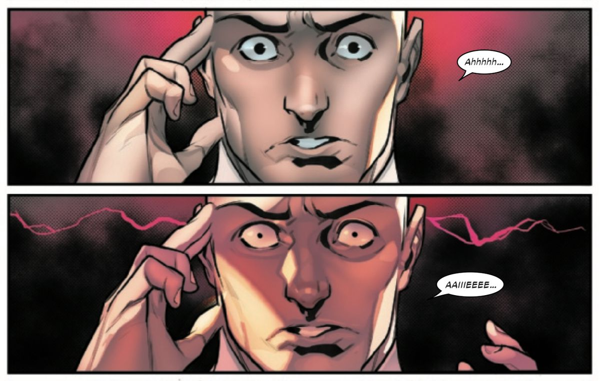 Professor Xavier reacts painfully to a psychic mind dump from Moira, in Powers of X #6, Marvel Comics (2019).