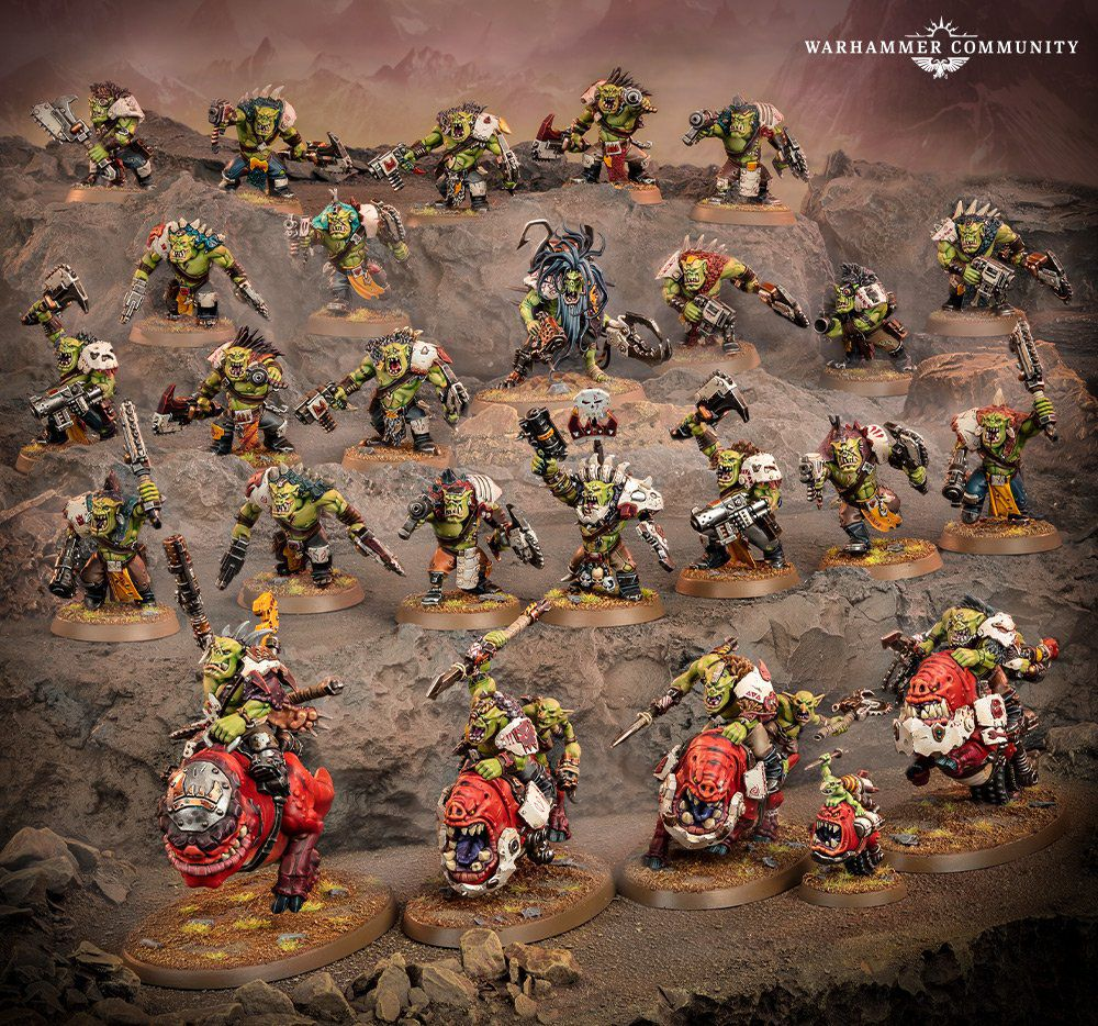 A few dozen new Orks for 40K, including some beast riders below.