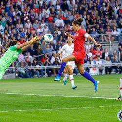 September 3, 2019 - Saint Paul, Minnesota, United States - Portugal goalkeeper Inês Pereira (1) punches the ball away from USA forward Carli Lloyd (10) during the USA World Cup Victory Tour match at Allianz Field.