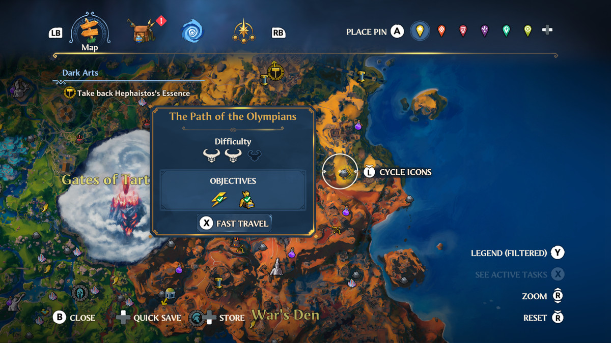 The map location of The Path of the Olympians Vault of Tartaros in Immortals Fenyx Rising