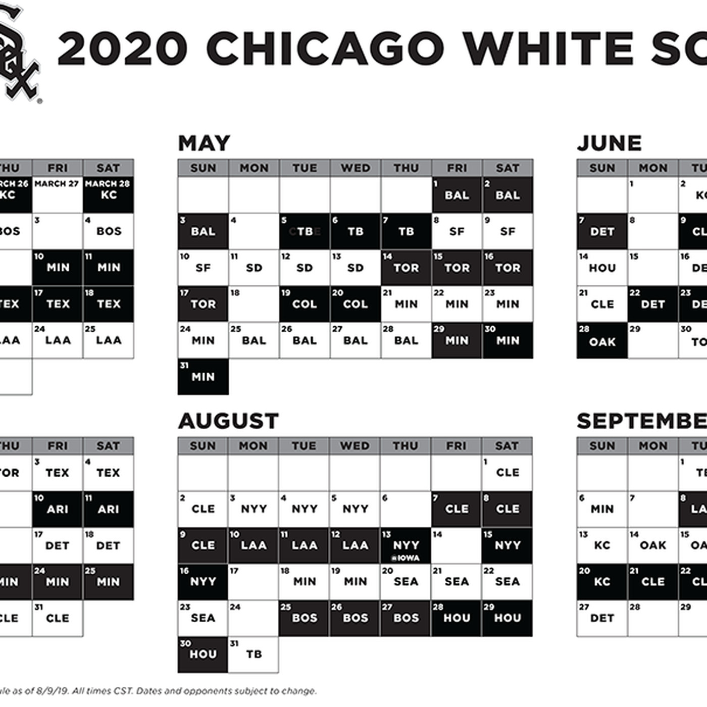 Cleveland Indians Home Opener 2020.2020 White Sox Schedule Reveal Day Is Here South Side Sox