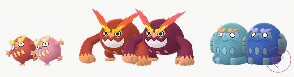 Shiny Darumaka and Darmanitan in Pokémon Go. Shiny Darumaka is a lighter pink and Shiny Darmanitan is a darker red. Zen Darmanitan is a darker blue.