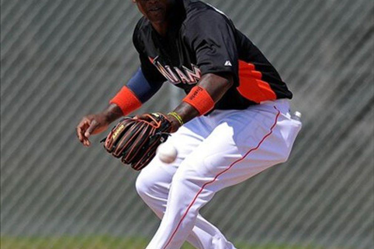 Feb 22, 2012; Jupiter, FL, USA; Miami Marlins third baseman Hanley Ramirez (2)  during spring training drills at Roger Dean Stadium. Mandatory Credit: Steve Mitchell-US PRESSWIRE