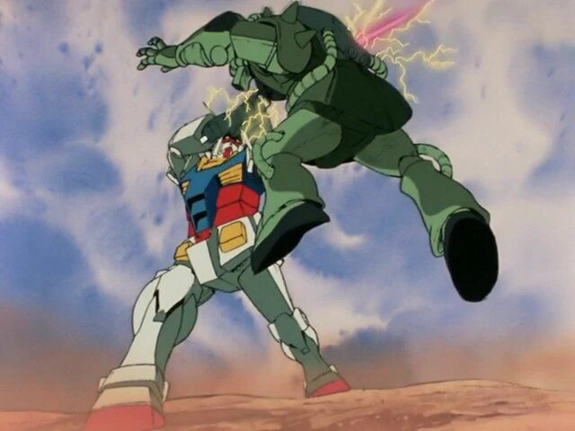 The RX-78 Gundam pierces the armor of a mobile Zaku suit with its beam saber.