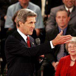 Sen. John Kerry responds to a question. He blamed Bush for the big U.S. deficit.