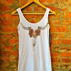 """100% cotton Longhorn Skull and Rose Tunic by RAGs & Thread, $42 at <a href=""""http://aokiboutique.com/"""">Aoki</a>."""