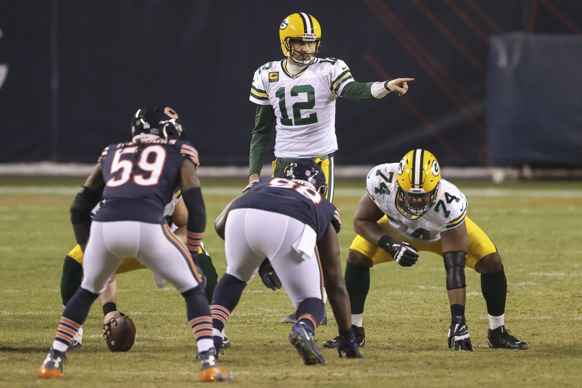 Green Bay Packers quarterback Aaron Rodgers (12) directs his team against the Chicago Bears.