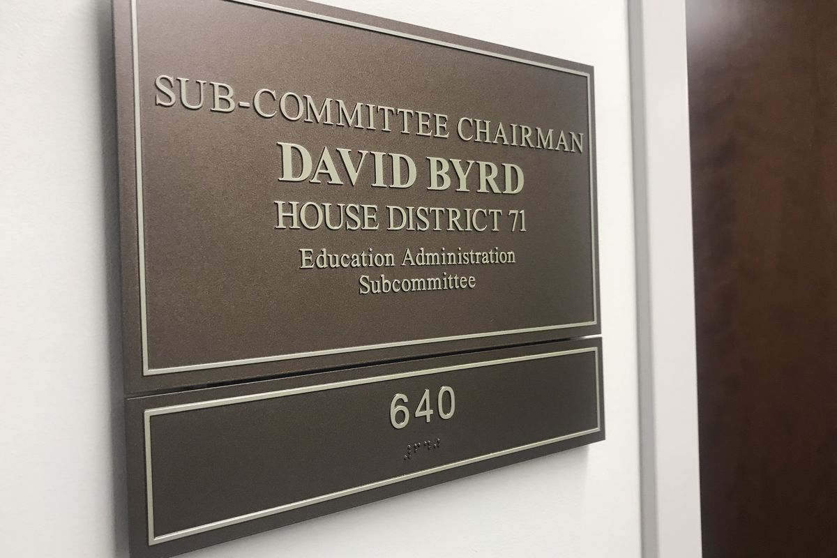 The sign outside of Rep. David Byrd's Nashville office identifies the Waynesboro Republican as chairman of the Education Administration Subcommittee of the Tennessee House of Representatives.