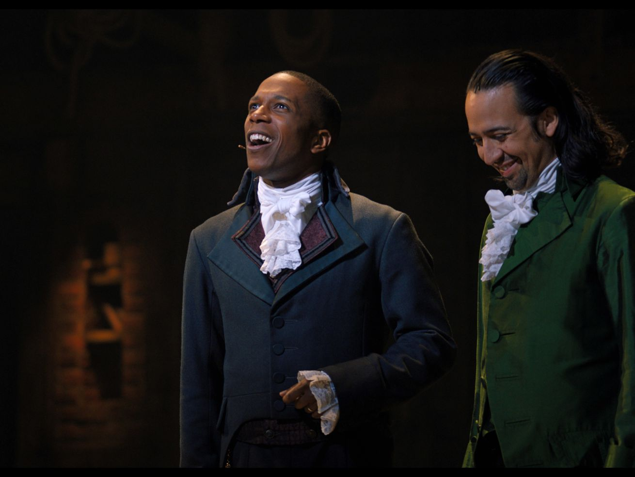 "Lin-Manuel Miranada is Alexander Hamilton and Leslie Odom, Jr., is Aaron Burr in ""Hamilton."""