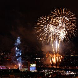 Fireworks explode over the University of Utah's Rice-Eccles Stadium during the opening ceremony of the 2002 Winter Games in Salt lake City on Feb. 8, 2002.