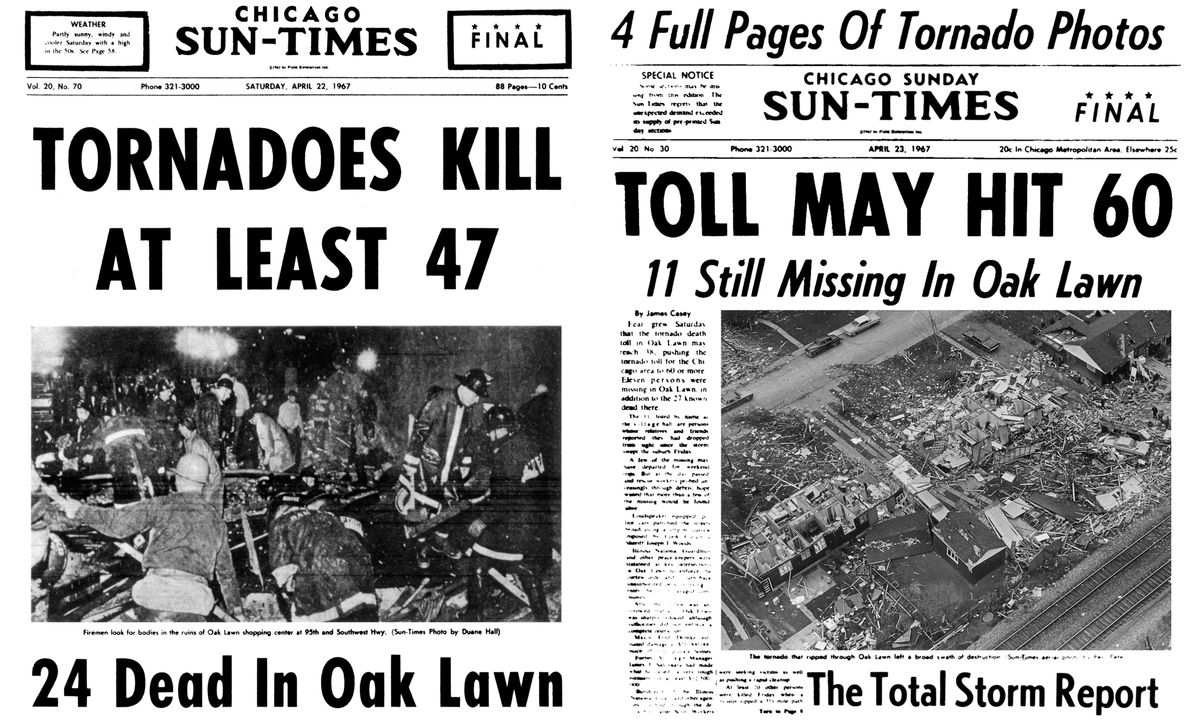 Chicago Sun-Times covers from April 22-23, 1967