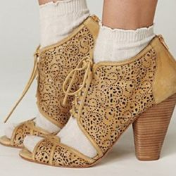 Free People, laser cut lace booties, $228