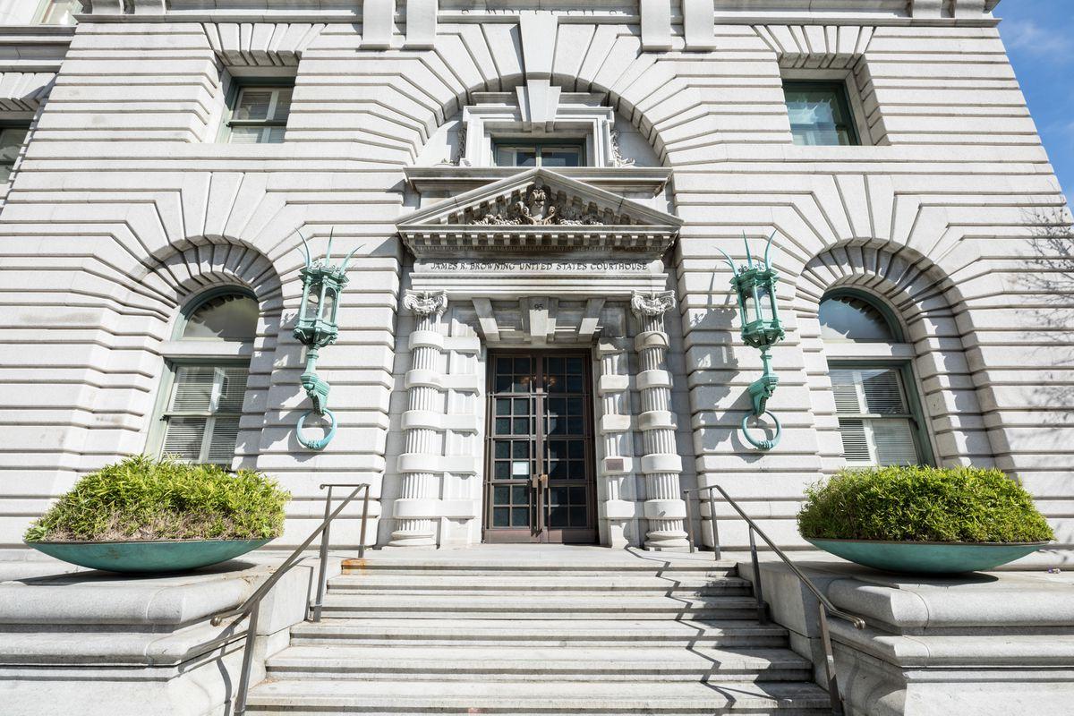 Exterior shot of U.S. Court of Appeals in SOMA, entry door.