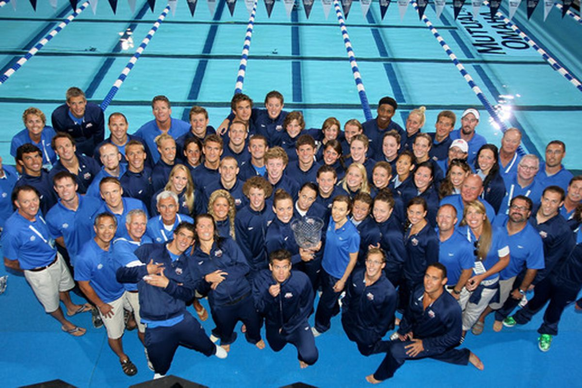 Teri McKeever (back left) became the first woman selected as coach of USA Swimming team last Wednesday. (Photo by Stephen Dunn/Getty Images)
