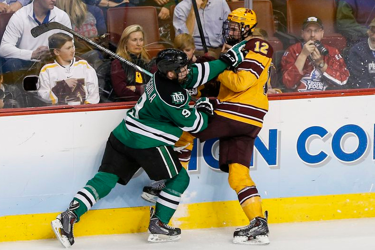 Drake Caggiula (9) and North Dakota will be returning to the Frozen Four.