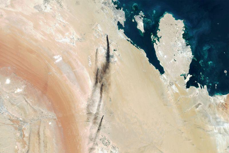 Satellite view of the attacked Saudi Arabian oil plants.
