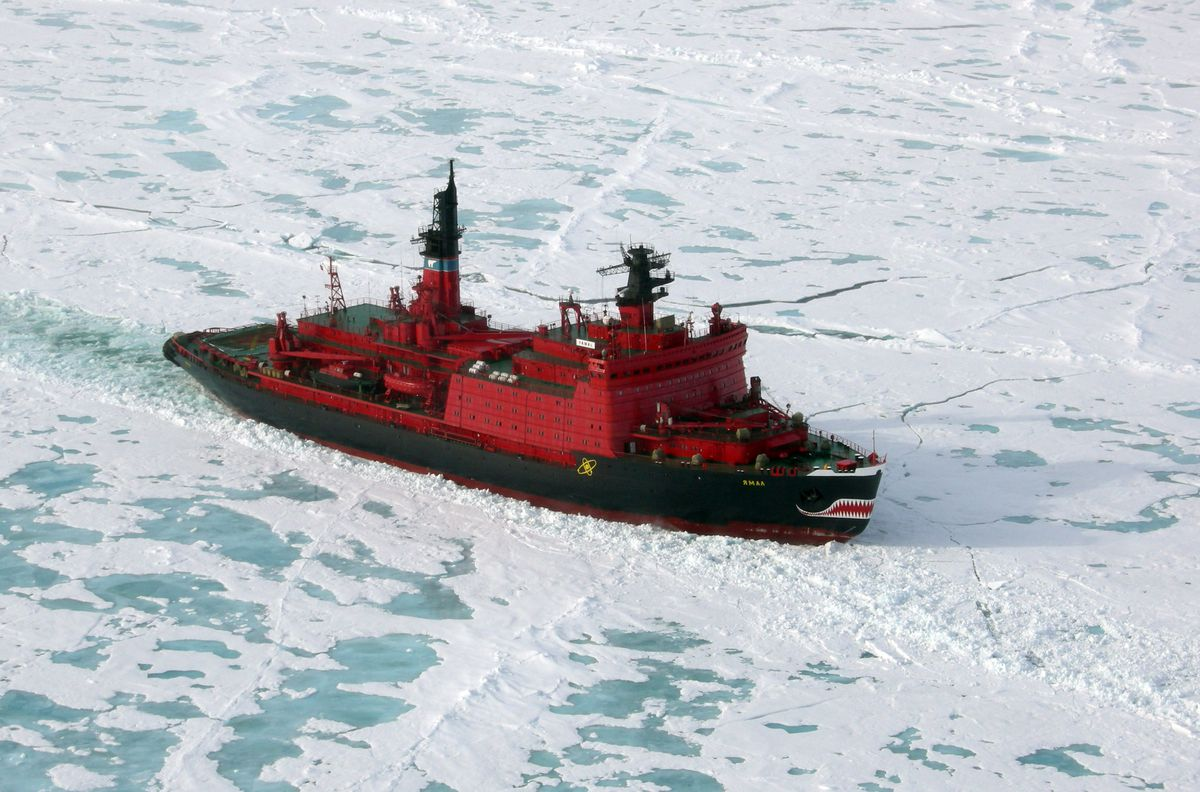 Russian nuclear powered icebreaker Yamal traveling through the Arctic Ocean on its way to the North Pole. The icebreaker is a ship for use in waters continuously covered with ice. Photo taken on July 3, 2007 (Photo by Nery Ynclan/NBC/NBCU Photo Bank via Getty Images)
