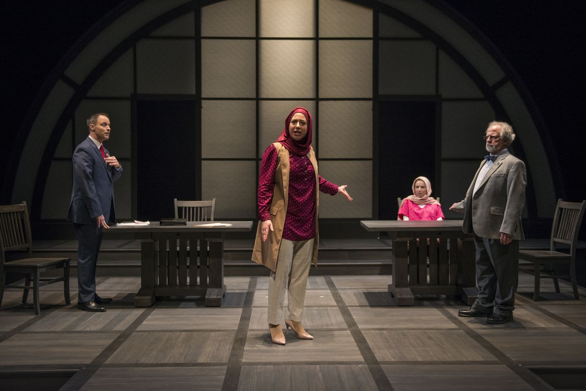 """Timothy Edward Kane (from left), Susaan Jamshidi, Lindsay Stock and Ross Lehman in Selina Fillinger's """"Faceless,"""" at Northlight Theatre.   Michael Brosilow"""