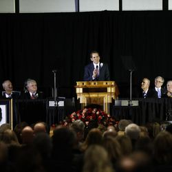John Edwards, son of LaVell Edwards, speaks during a public memorial service for former Cougar football coach LaVell Edwards at the Provo Convention Center on Friday, Jan. 6, 2017.