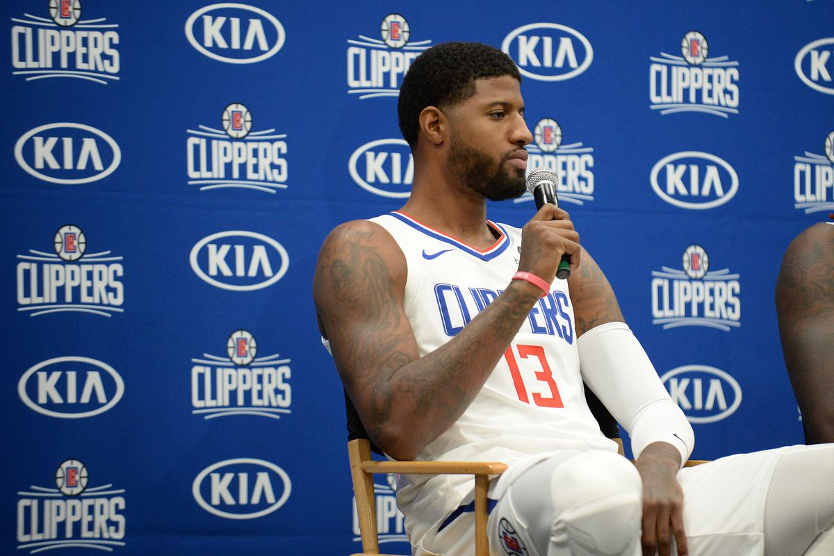 Los Angeles Clippers forward Paul George speaks with media during media day at LA Clippers Training Center.