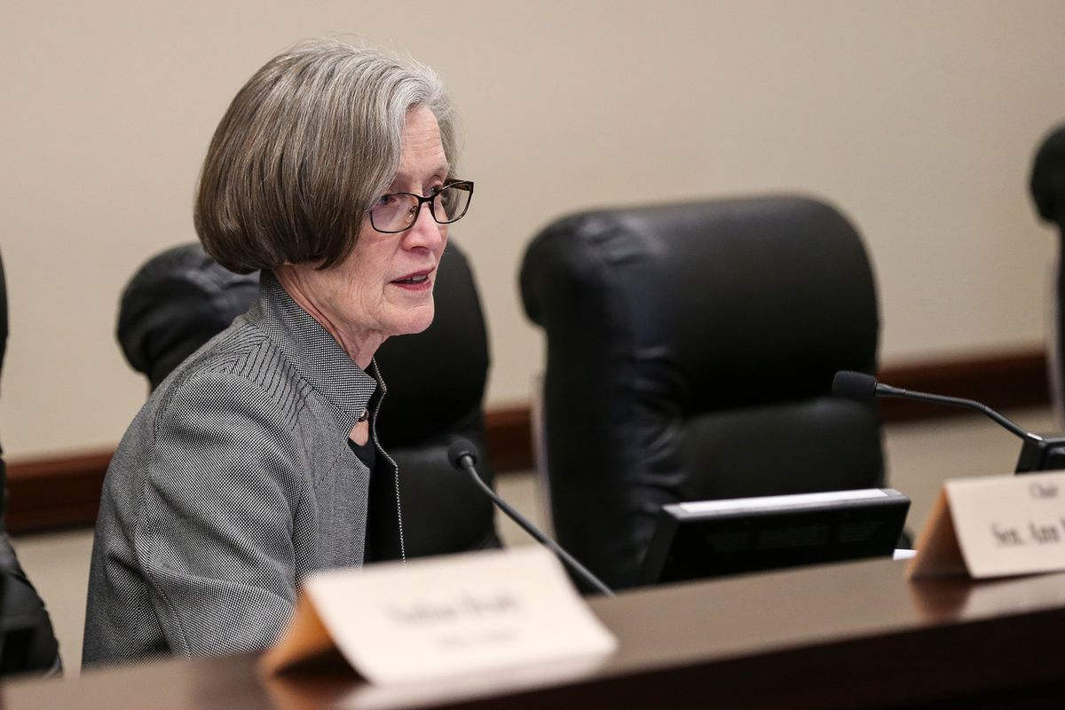 FILE - Sen. Ann Millner, R-Ogden, presides during a Senate Education Committee hearing at the Capitol in Salt Lake City on Wednesday, Feb. 8, 2017. At least 60 percent of Utah third-graders would have to read at or above grade level under new legislation