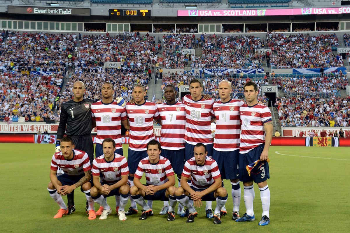 JACKSONVILLE, FL - MAY 26: Team USA pose for a group photo prior to their friendly game against Team Scotland on May 26, 2012 at EverBank Field in Jacksonville, Florida. (Photo by Gary Bogdon/Getty Images)
