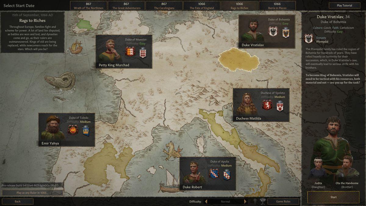 تظهر القائمة خيارات لبدء اللعبة مثل دوق Behemia أو Munster أو Toledo أو Apulia في عام 1066.