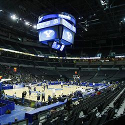 BYU practices Wednesday at the Ford Center in Oklahoma City for their first round NCAA game against Florida on Thursday.