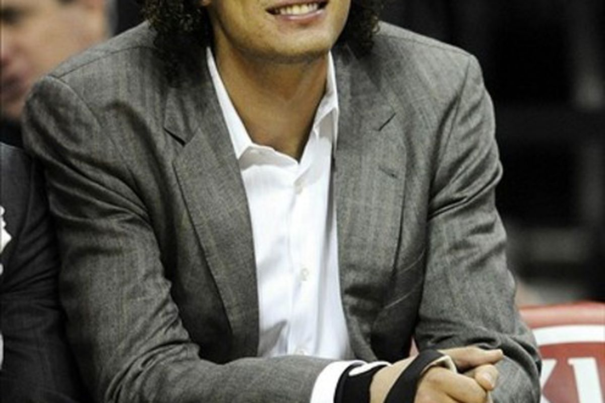 Mar 5, 2012; Cleveland, OH, USA; Injured player Cleveland Cavaliers power forward Anderson Varejao (17) sits on the bench in the second quarter against the Utah Jazz at Quicken Loans Arena. Mandatory Credit: David Richard-US PRESSWIRE