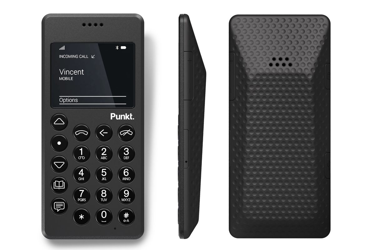 The Punkt. MP 01 mobile phone, which offers calling and texting but no email or apps.