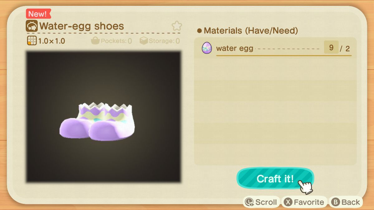 A crafting screen in Animal Crossing showing how to make a Water-Egg Shoes